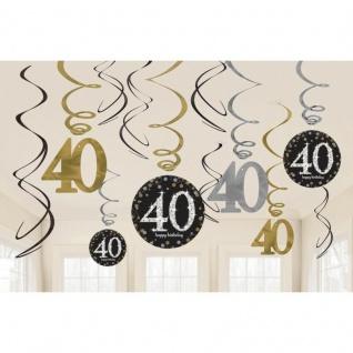 40. Geburtstag Party 12 tlg Swirl Girlanden schwarz Gold Raum Deko Jubiläum 0481