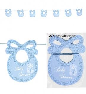 Lätzchen Girlande 2, 75 Meter blau Geburt Junge Baby Party Deko #5725