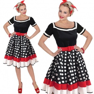 ROCKABILLY PETTICOAT KLEID Damen Kostüm Cocktailkleid Partykleid schwarz/weiß