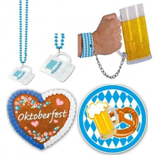 Oktoberfest Party Maßkrug an Kette, Bierglas mit Handschelle, LED blink Button