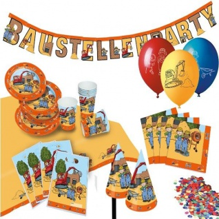 BAUSTELLENPARTY Bauarbeiter Kindergeburtstag Motto Party Deko
