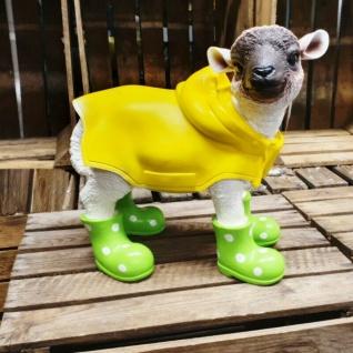 Figur Schaf Lamm grüne Stiefel & Regenmantel Heidschnucke Haus Garten Deko #330
