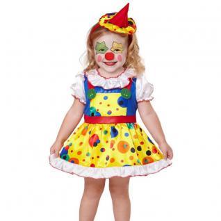 CLOWN Mädchen Kinder Kostüm Größe 104 Kleinkind Harlekin Kleid + Minihut #7540