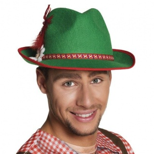 Tiroler Hut Bayernhut Trachten Hut mit Edelweiß und Feder Oktoberfest #4034