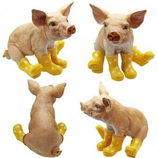 Schwein mit gelben Gummistiefel Garten-Deko Figur Sau Tierfigur Ferkel Skulptur