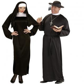 NONNE UND PRIESTER Herren Damen Kostüm - Pfarrer Oberin Pater - Partnerkostüm