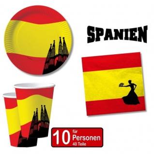 SPANIEN SPAIN 40 tlg. Länder Deko Party Set - Becher Servietten Teller -