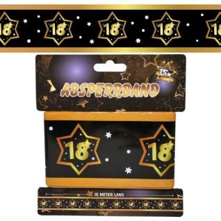 15 m Absperrband 18. Geburtstag Jubiläum schwarz gold Party Deko #3135