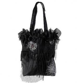 Halloween Hexen Handtasche Bettelbeutel Netz Stoff-Tasche schwarz 7884d