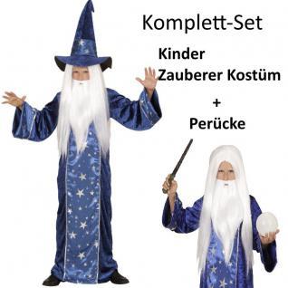 Kinder Kostüm ZAUBERER + PERÜCKE Gr. 128 Durin - Junge Karneval Fasching