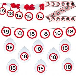 18. Geburtstag 11 tlg Deko Set Party 18 Verkehrsschild Girlande Luftballon Set 6