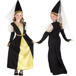 Mädchen Kostüm Burgfräulein Isolde Gr. 116/122 Kleid mit Spitzhut Kinder #8223