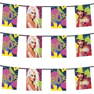 80er Jahre Wimpelkette 4M Party Deko Disco Motto Party Flaggen Girlande #4601