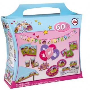 XXL Party Koffer 60 tlg. PRINZESSIN & EINHORN Kinder Geburtstag - Teller Becher