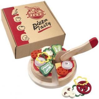 PIZZA Lebensmittel Set Holz - Schneide Spielzeug Kinder Küche Kaufladen #5067