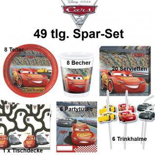 Disney CARS 49 tlg. Spar-Set Kinder Geburtstag -Teller Becher Tischdecke Trinkha