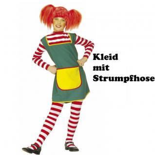 Kinder Kostüm KLEID MIT STRUMPFHOSE Gr. 128 Starkes Mädchen Langstrumpf Girl