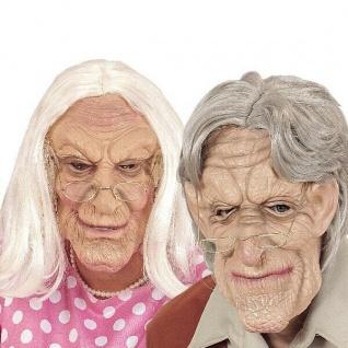OPA oder OMA MASKE mit Perücke - Greis Alter Mann Alte Frau Karneval Fasching