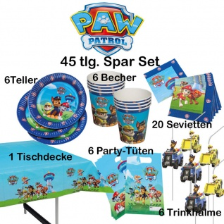 45-tlg. Super-Spar-Set PAW PATROL Kinder Geburtstag Party Deko Teller-Becher usw