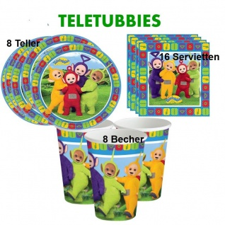 32 tlg. Teletubbies Geburtstag Party Set Teller Becher Servietten für 8 Kinder