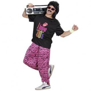 80er 90er Jahre TRAININGSHOSE + T-SHIRT Jogginghose pink-schwarz M/L, XL