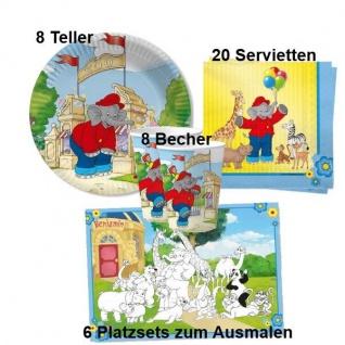 BENJAMIN BLÜMCHEN 42tlg.Set Kinder Geburtstag Teller Becher Servietten Platzsets