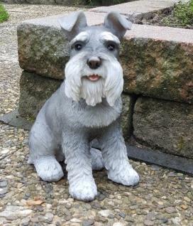 Deko Figur SCHNAUTZER HUND lebensechte Garten Tierfigur lebensgroß #9780