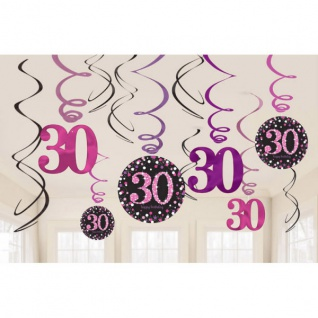 30. Geburtstag Party SWIRL GIRLANDE schwarz pink 12tlg. Raum Deko Glamour # 0597