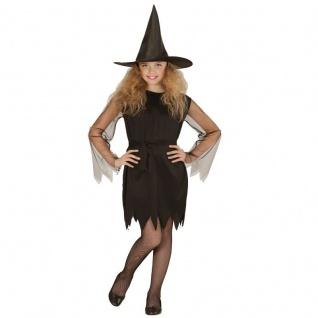 Kinder Hexen Kostüm Black Witch Gr. 140 Schwarze Hexe Mädchen Halloween #0247