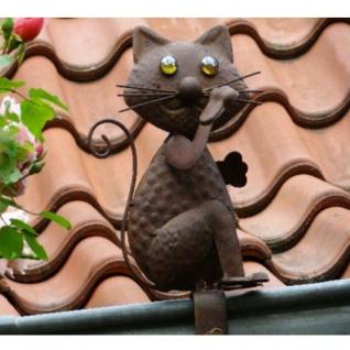 """Dachrinnenfigur """" Katze Filou"""" Garten-Zierfigur Garten-Deko Zaunfigur #1975"""