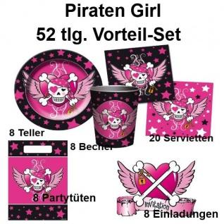 52 tlg. Vorteil-Set PIRATEN GIRL Mädchen Geburtstag Party Deko - Teller Becher