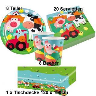 BAUERNHOF TIERE Party Set Becher Servietten Teller Tischdecke -Kinder Geburtstag