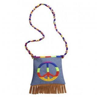 Hippie Handtasche - Peace - 60er 70er Jahre Flower Power Damen Fransen Tasche