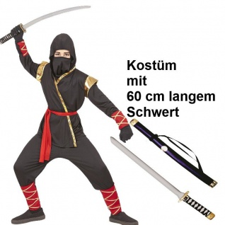 edle Ausführung Samurai Kämpfer Ninja Kinder Kostüm schwarz oder rot