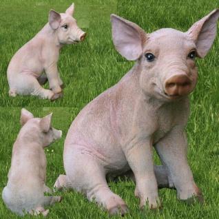 Schwein Ferkel sitzend 46cm Haus Garten Deko lebensecht Figur #z2172
