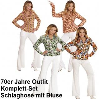 70er Jahre Damen SCHLAGHOSE weiß + Bluse bunt Kostüm Disco Hippie Schlager Motto