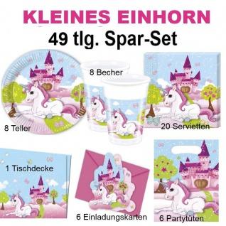 49tlg. Spar-Set Kleines EINHORN Kinder Geburtstag Party Deko Pferd Teller Becher