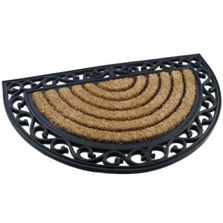 Fußmatte ?ORIENT? Schmutzfangmatte Gummi / Kokos Halbrund 75 x 45 Natur