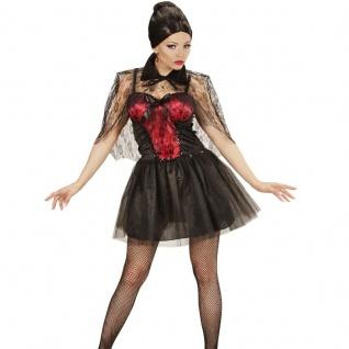 Sexy Vampir Lady Kleid mit Umhang Damen Kostüm Gothic Zauberin 34 36 38 40 42 44