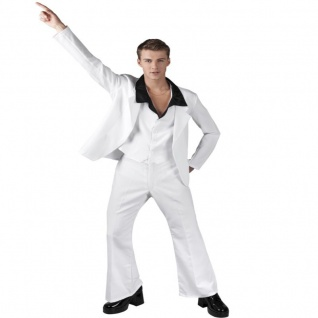 60er 70er Jahre Disco Anzug Weiß Herren Kostüm Jacke Hose Dandy Schlagermove