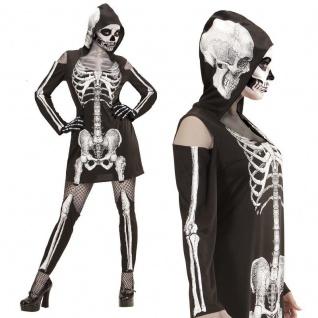 SKELETTLADY Gr. S 34/36 Skelett Kleid Kapuze Strapsen-Leggings Damen Kostüm #987