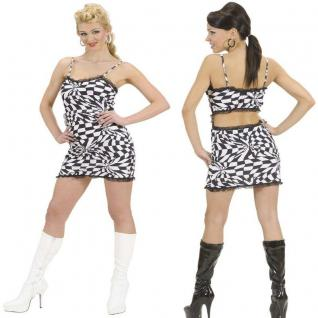 70er 80er Jahre Damen Disco Kleid Flower Power Hippie Party Kostüm Minikleid