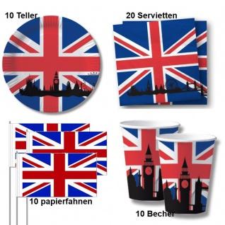 50 tlg. Großbritannien Party Deko Set - Becher Servietten Teller Fahne - England
