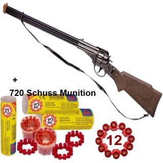 FRONTIER SCOUT 12-Schuss Metall Western Gewehr mit 720 Schuss Munition Spielzeug