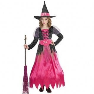 Magic Märchen HEXE Mädchen Kinder Hexen Kostüm pink Rosa Kleid mit Hut Halloween