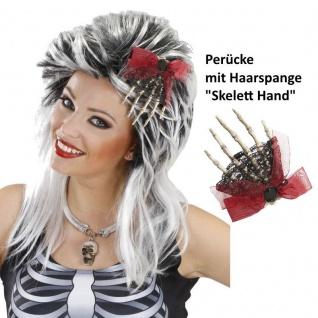 Halloween Damen PERÜCKE Hexe mit Haarspange/Brosche SKELETTHAND Haarklammer 9071