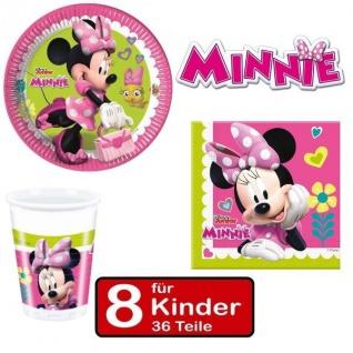Party Set MINNIE MAUS - Teller Becher Servietten - für 8 Kinder Geburtstag pink