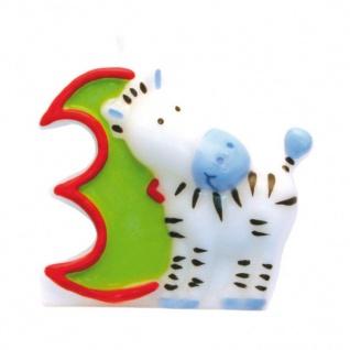 Kerze 3 Safari Tiere - Geburtstagskerze - Dschungel - Zahlenkerze Kinder Motive