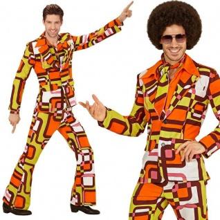 70er Jahre Disco Anzug XL 54 Herren Kostüm Schlager Dancing Hippie Flower #8964