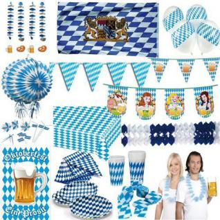 OKTOBERFEST PARTY Dekoration Deko Bayern Bavaria Wiesn blau weiss Raute Set